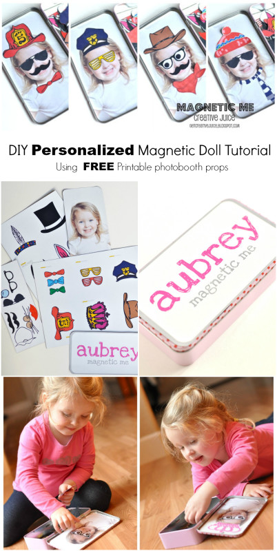 DIY personalized photo magnetic doll tutorial - using free printable Photo Booth props