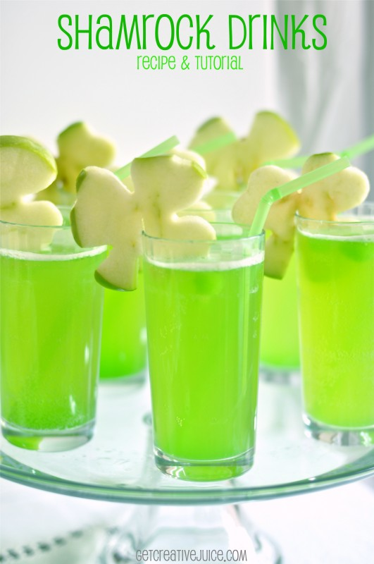 Shamrock Drink with Apple Garnish