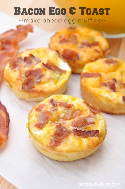 bacon egg and toast breakfast muffins