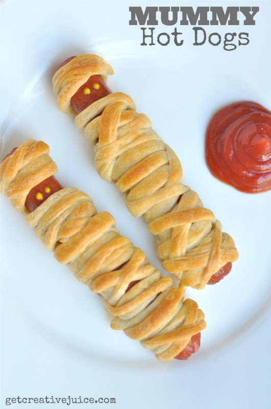 Mummy Hot Dog Recipe, Kids Mummy Hot dogs, Hot dog recipes, halloween kids food