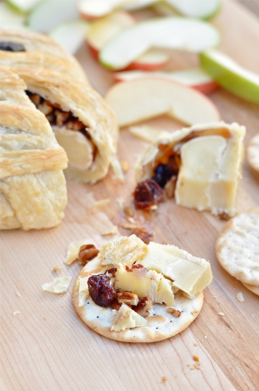 Halloween Mummy Appetizer Cherry and Pecan Baked Brie