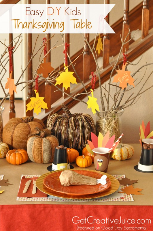 4 easy kids thanksgiving table craft tutorials creative Simple thanksgiving table decorations