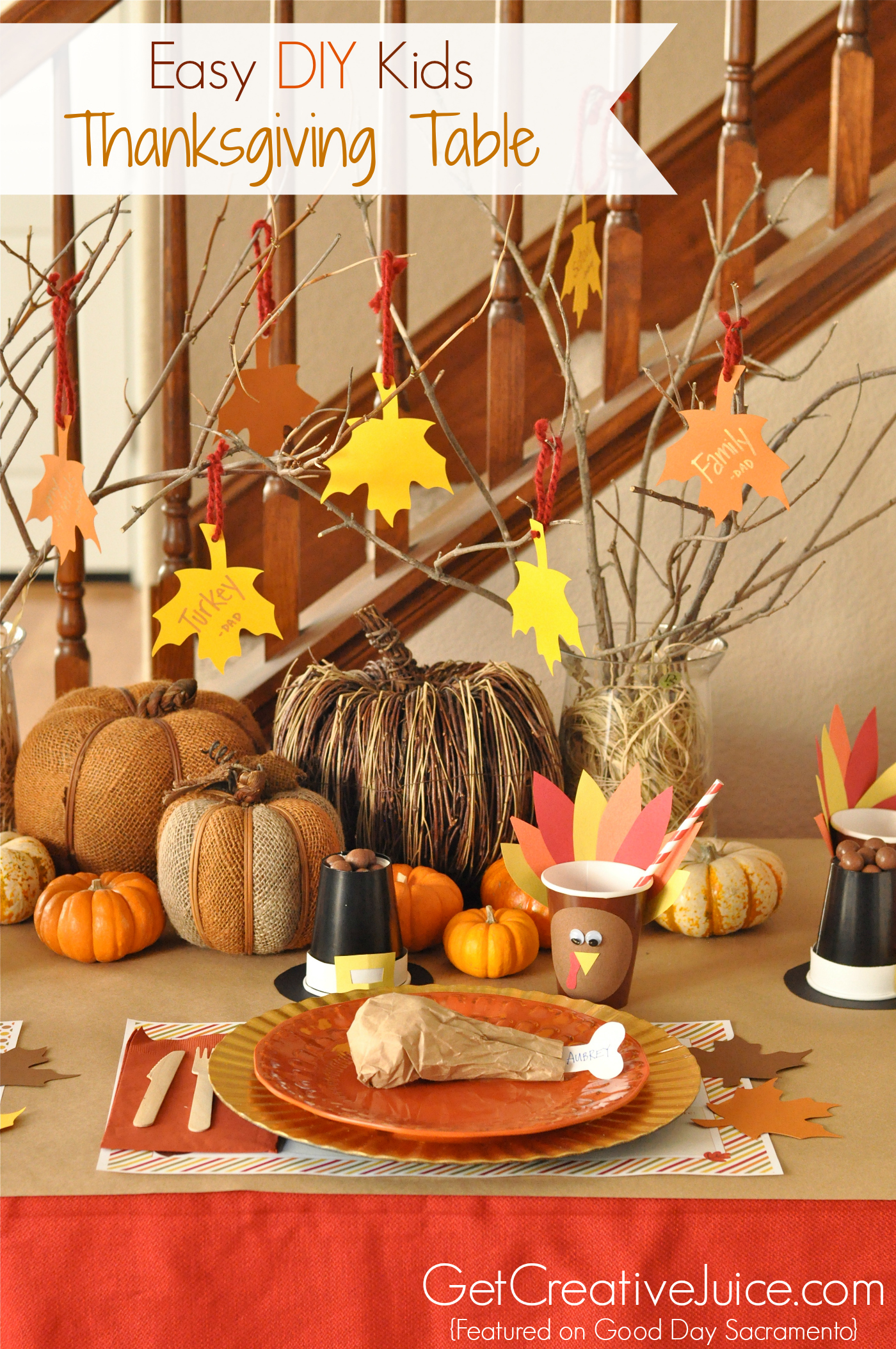 Easy diy kids thanksgiving table ideas creative juice Cheap thanksgiving table setting ideas