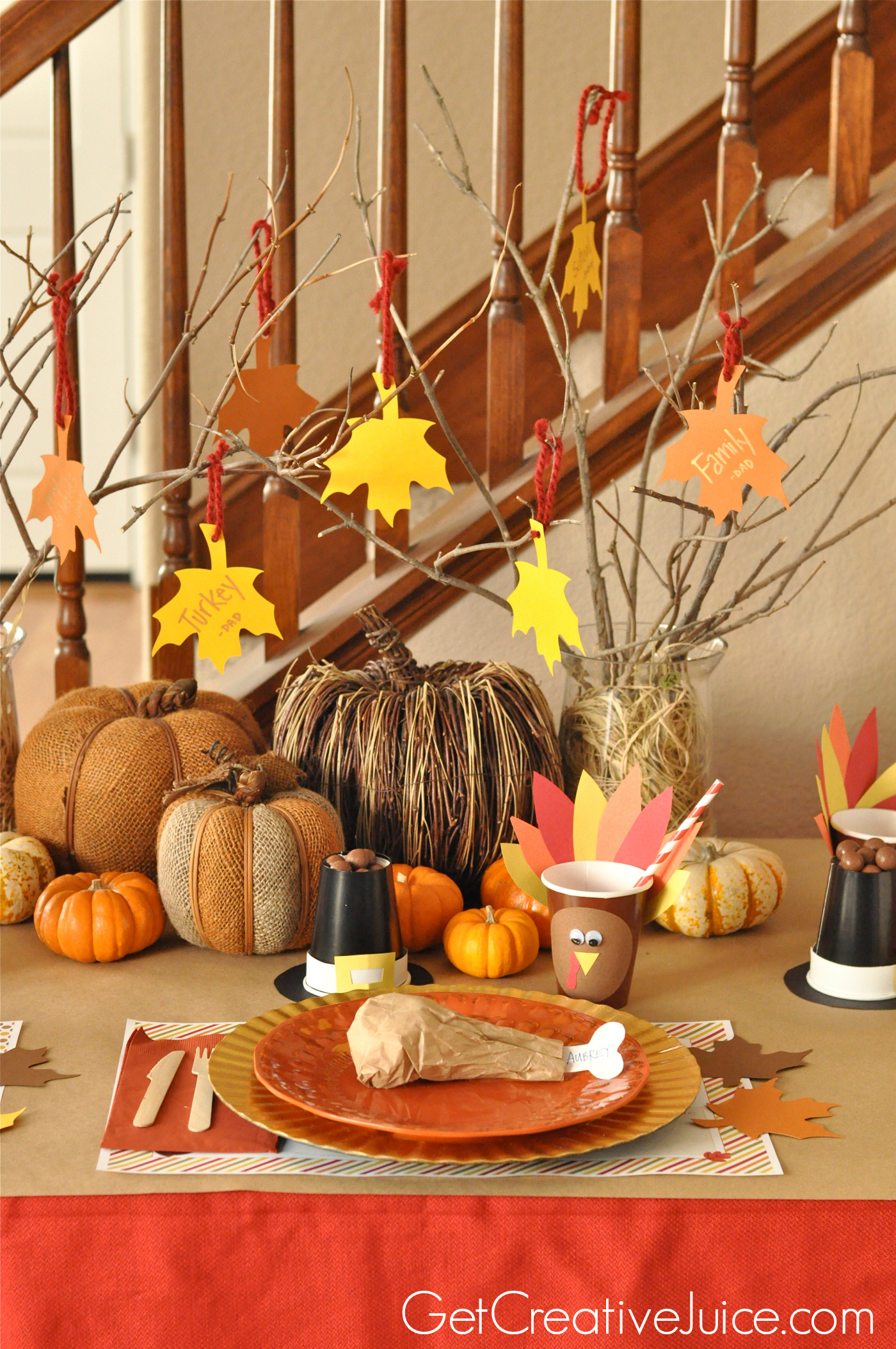 Easy diy kids thanksgiving table ideas creative juice - Thanksgiving decorations ...