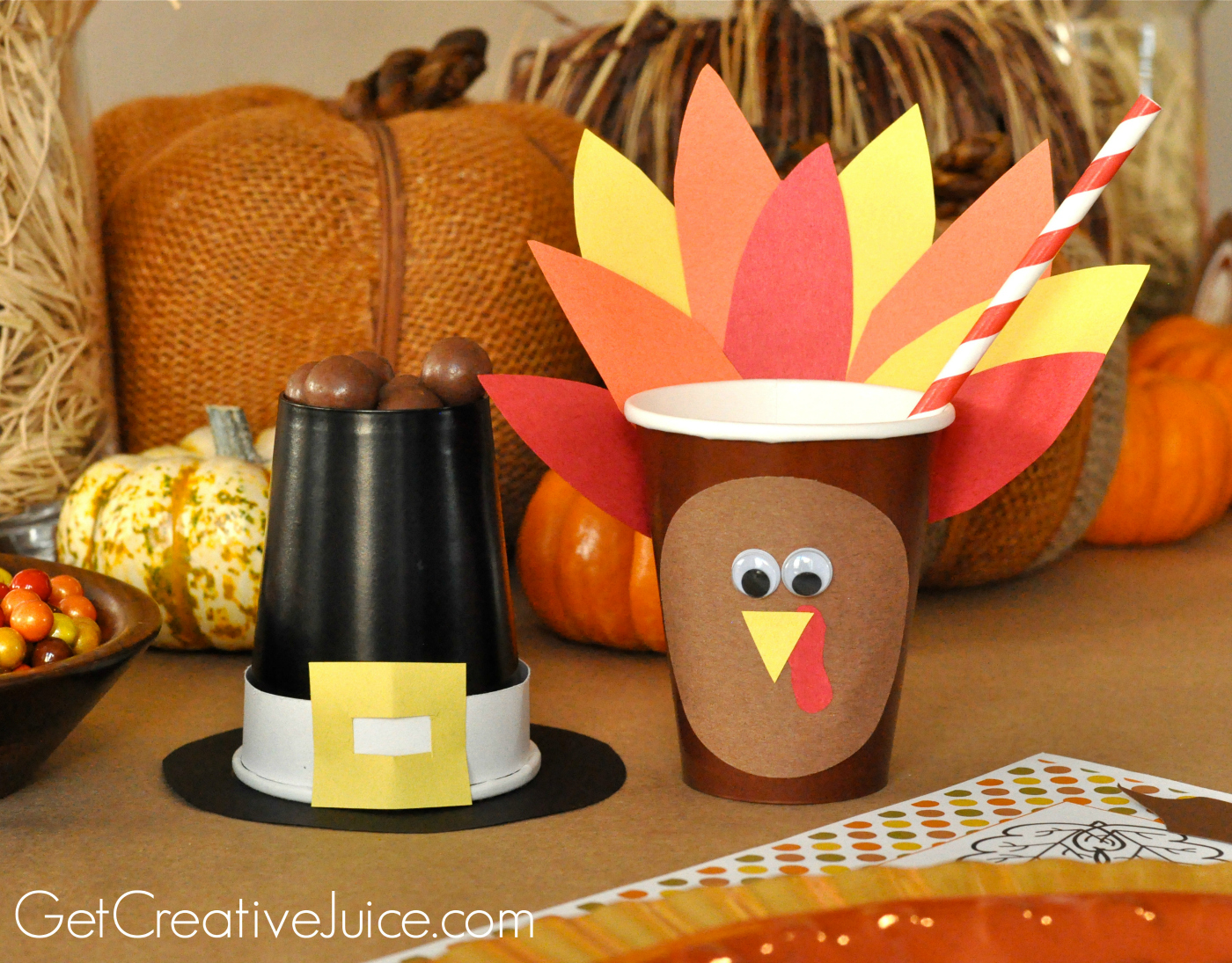 diy thanksgiving kids table ideas turkey and pilgrim hat tutorial & Easy DIY Kids Thanksgiving Table Ideas - Creative Juice