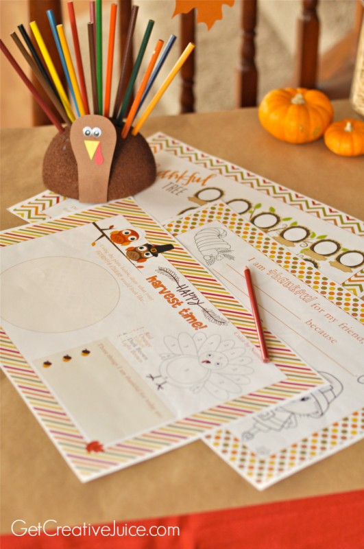 kids thanksgiving table printable placemats