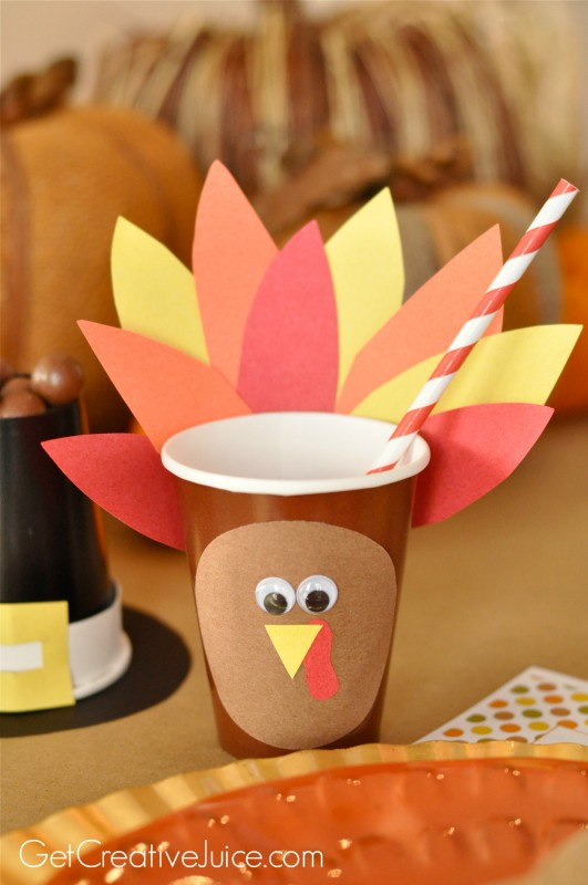 kids thanksgiving table turkey cups