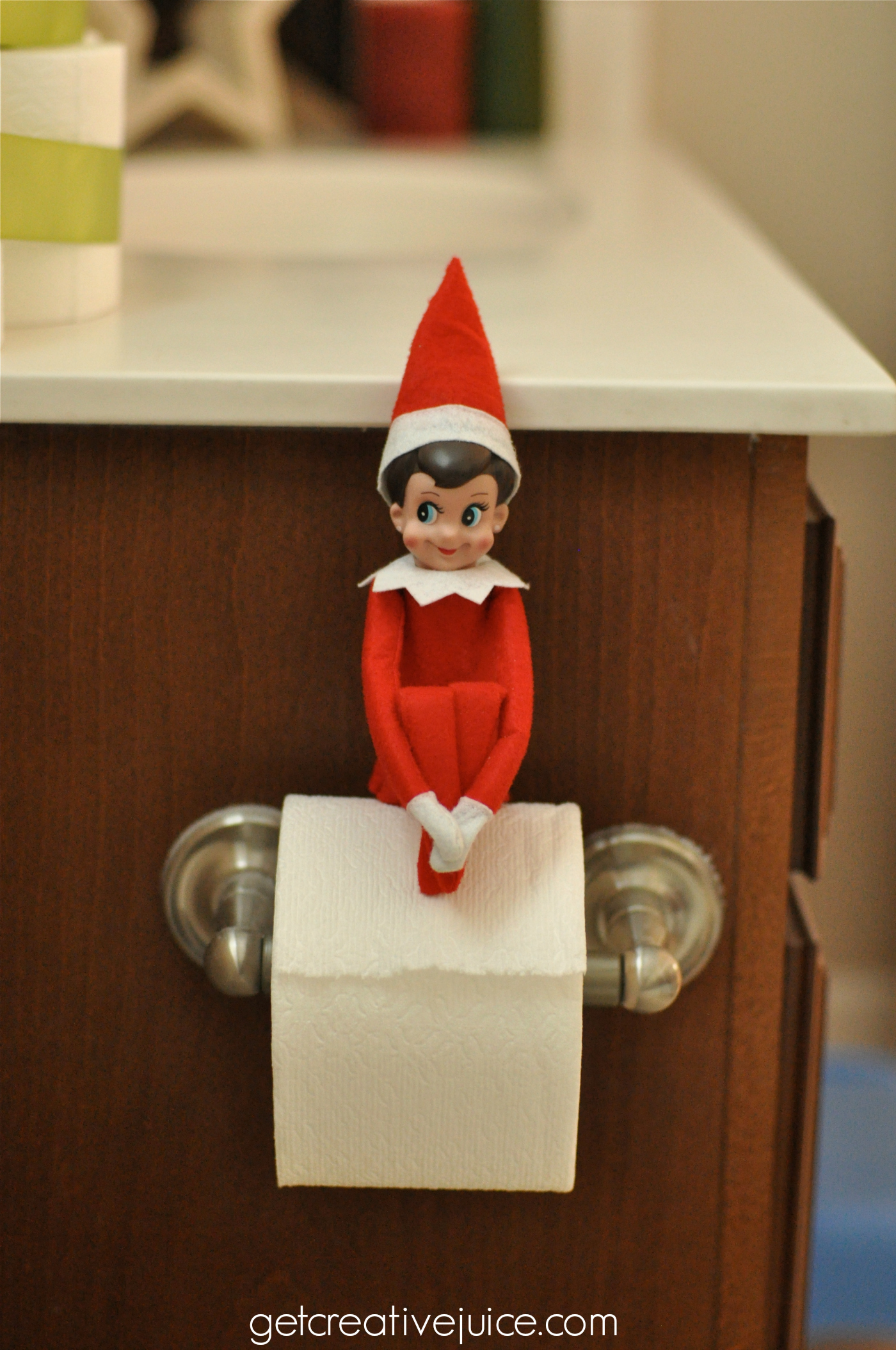 A little holiday potty training and a coupon for Elf on the shelf bathroom ideas