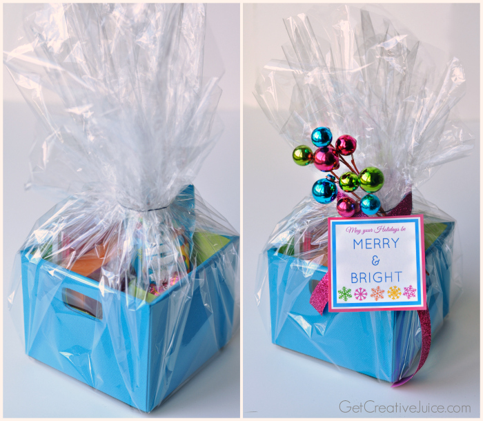 Merry bright free printable gift tag holiday gift wrapping idea using bright colors negle Gallery