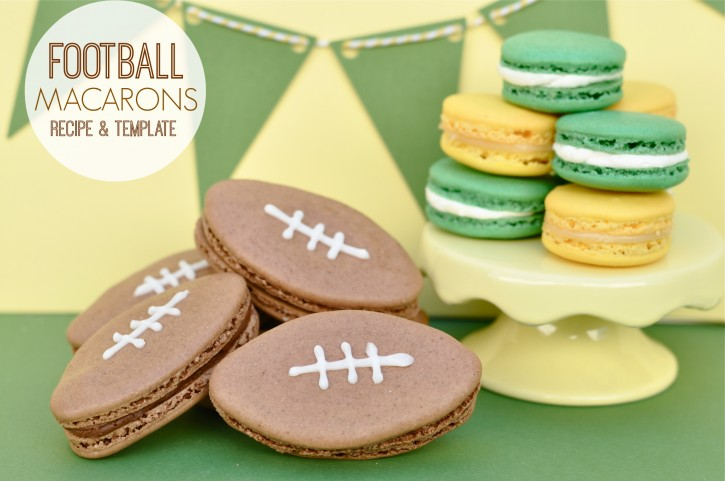 Football Macarons recipe and template - Snickers Flavor!