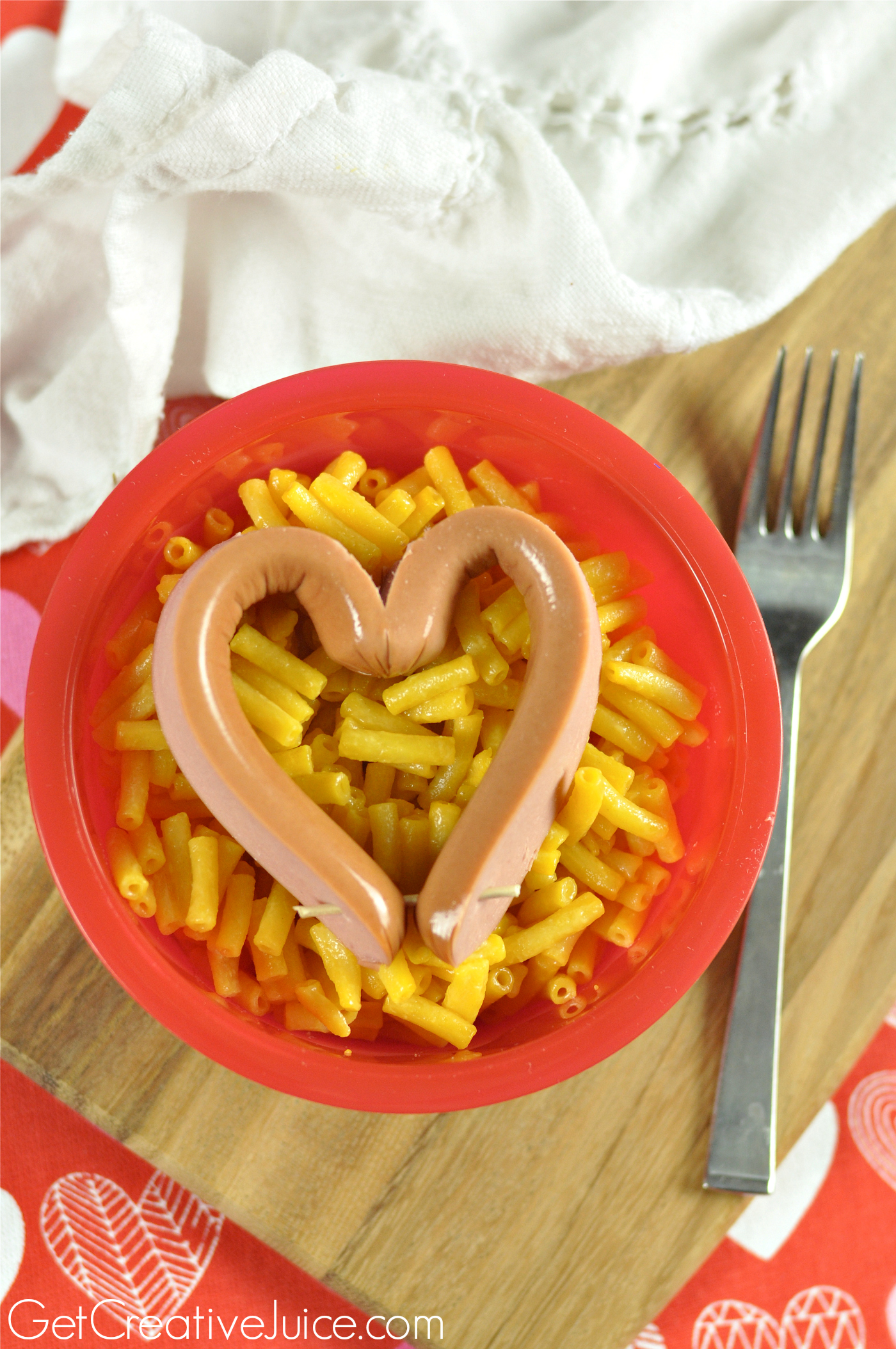 kids valentines day dinner idea heart shaped hot dog and mac cheese