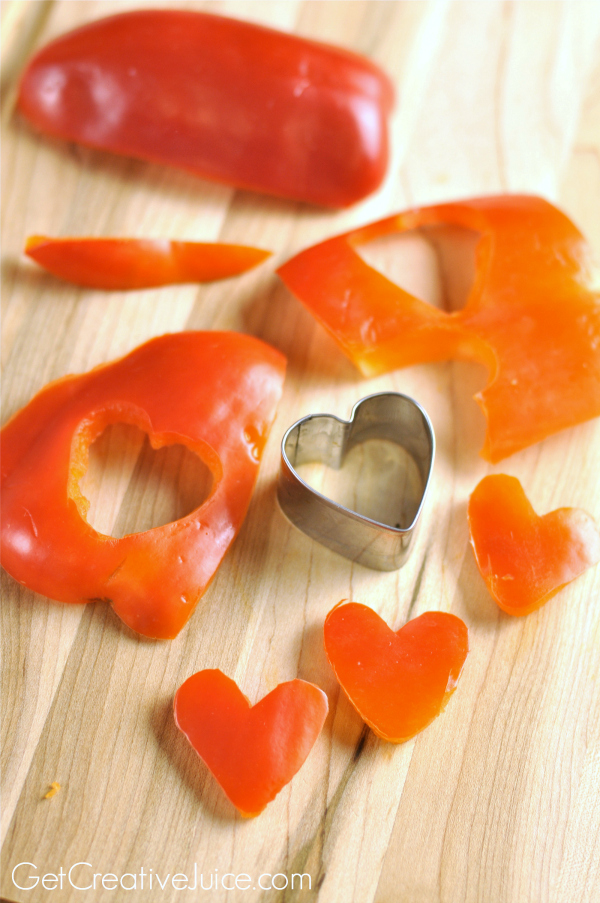 Red Pepper Hearts for Valentine's Day