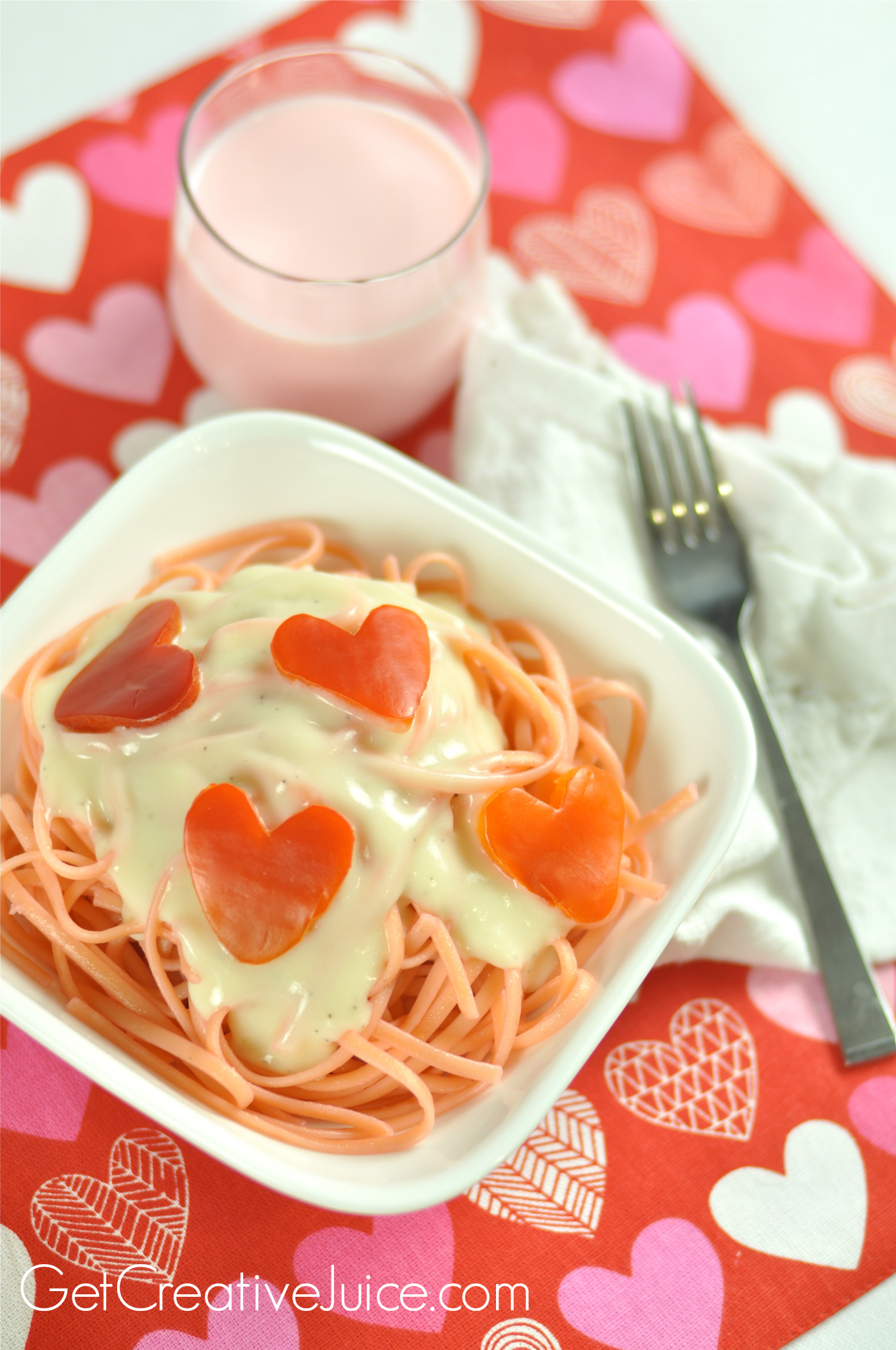 Valentines Day Dinner Idea Pink Pasta Amp Red Pepper Hearts