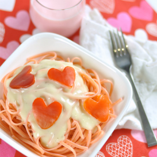Valentines Day Dinner Idea: Pink Pasta & Red Pepper Hearts
