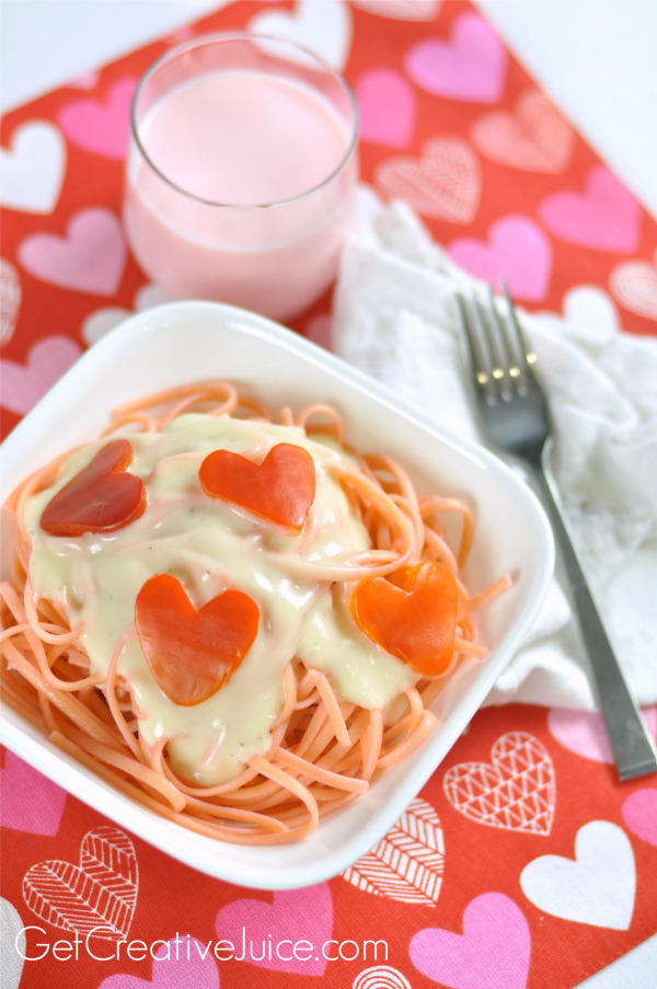 valentines day dinner idea: pink pasta & red pepper hearts, Ideas