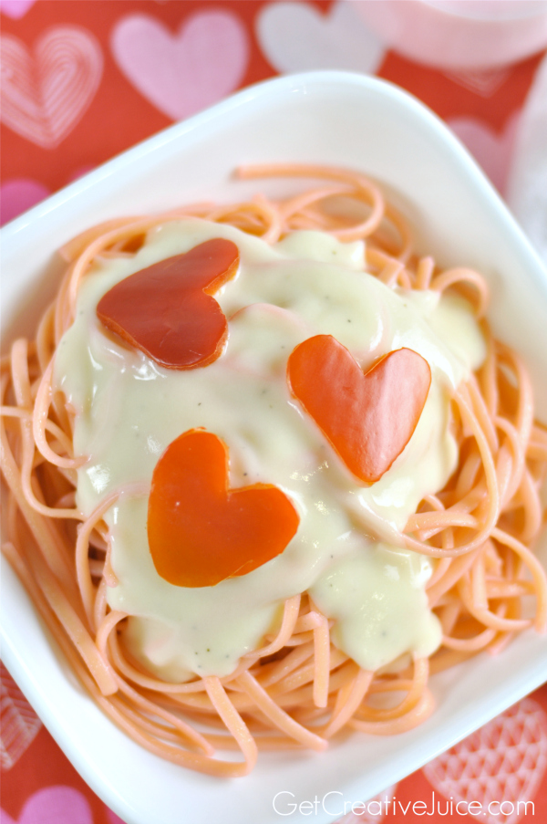 Valentine's Day Pasta - Pink Pasta with Red Pepper Hearts