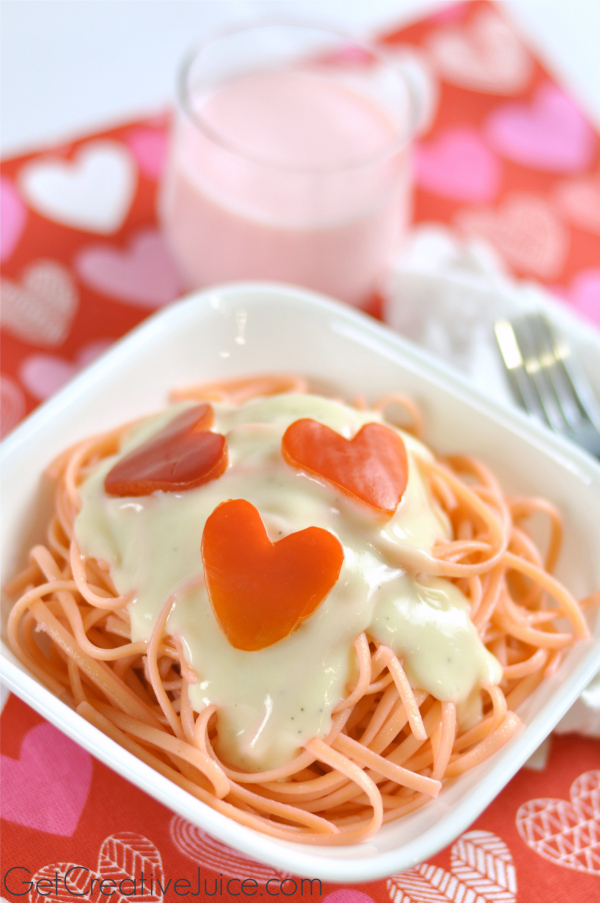 Valentine's Day dinner idea Pink Pasta and Red Pepper Hearts