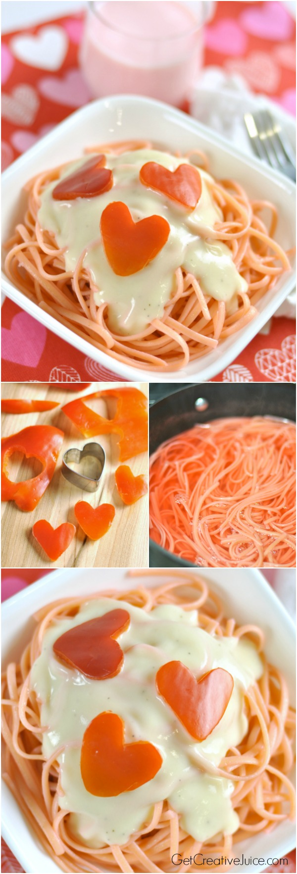 Valentines Day dinner idea - Pink pasta with red pepper hearts
