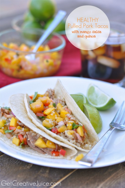 Healthy Pulled Pork Tacos with Mango Salsa