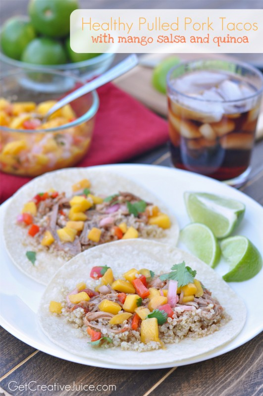Healthy Pulled Pork Tacos with Mango Salsa and Quinoa