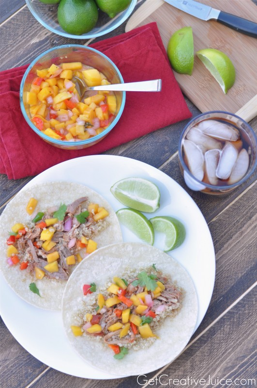 Pulled Pork Tacos and Mango Salsa with Quinoa