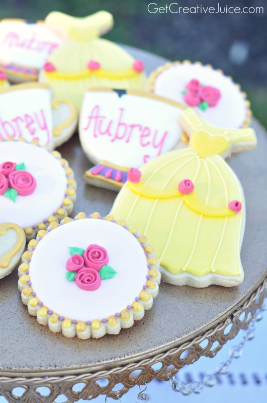 Beauty and the Beast Sugar Cookies - Belle Princess Party Dessert