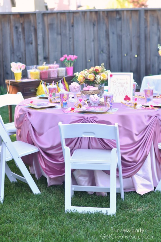 Belle Princess Party table decorations, food, decor, and favors