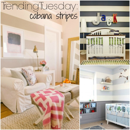 Trending Tuesday: Cabana Stripes {How to Paint Horizontal Wall Stripes}