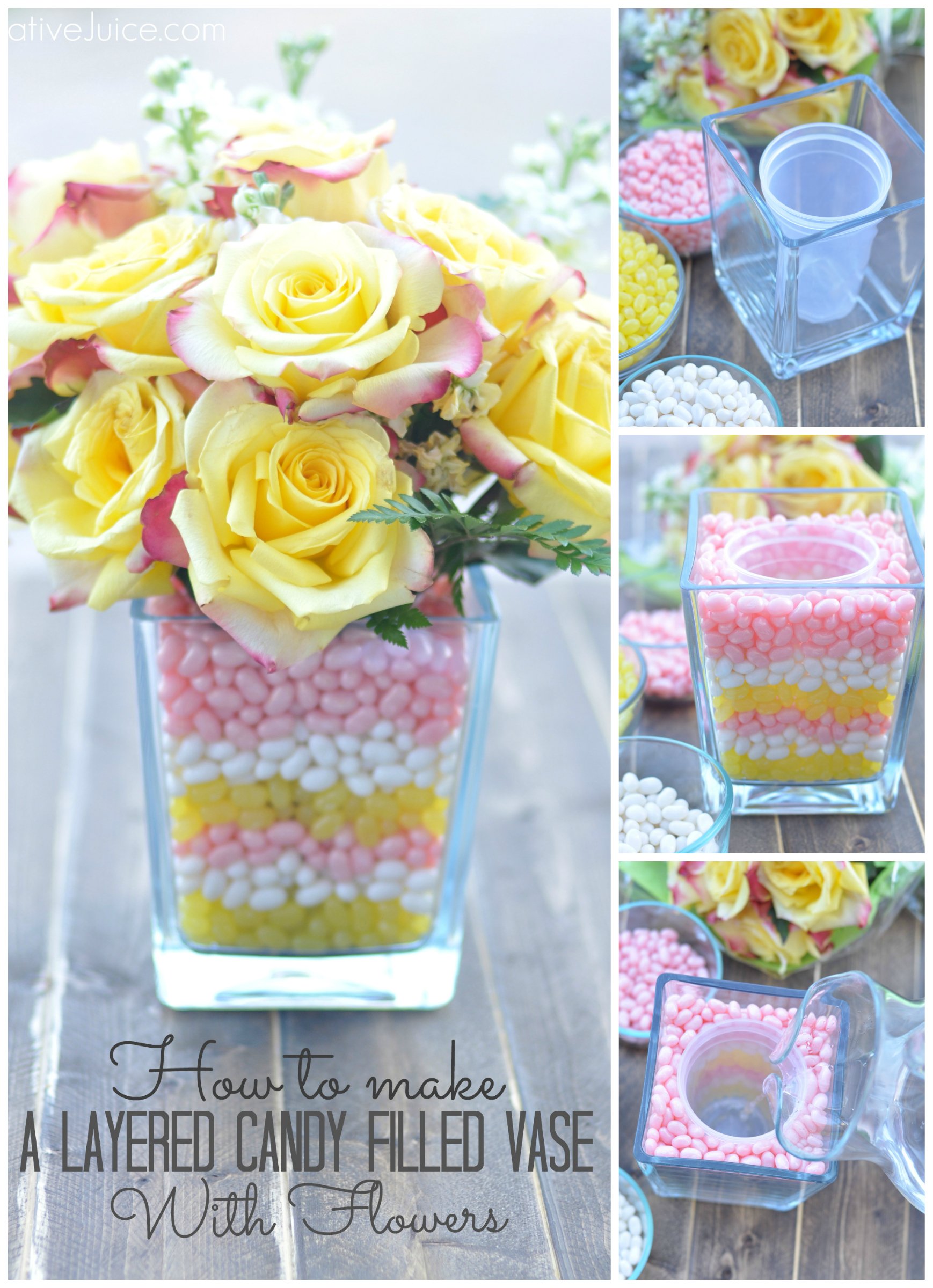 How to make a Layered Candy Filled Vase with Flowers - Creative Juice