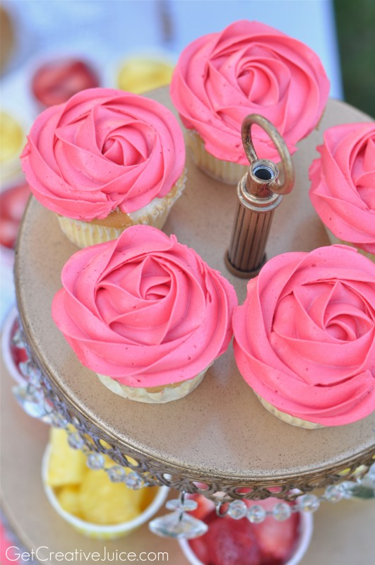 Rose Cupcakes for Belle Princess Party