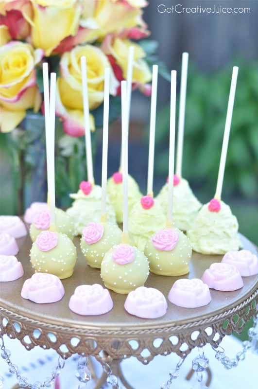 Yellow Rose Cake Pops for Princess Party Dessert Table