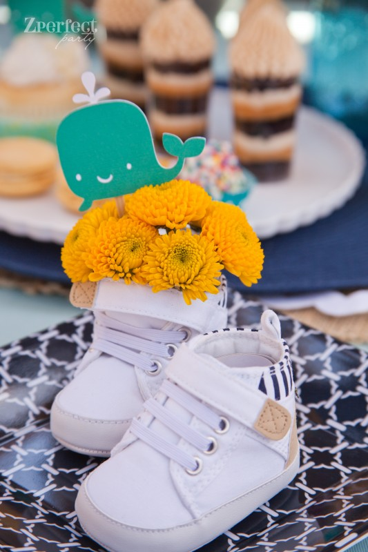 Nautical Baby Shower Centerpiece - Baby Shoes!