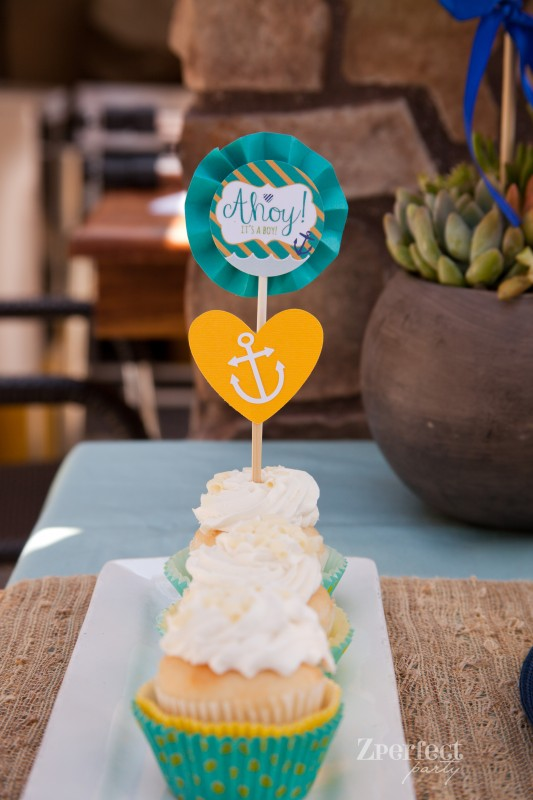 Nautical Baby Shower Blue and yellow Ahoy Cupcake Toppers
