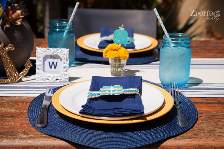 Nautical Baby Shower Blue and yellow Ahoy table setting
