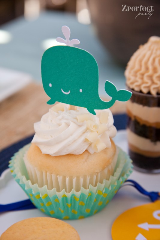 Ahoy It's a Boy! Nautical Baby Shower whale cupcake