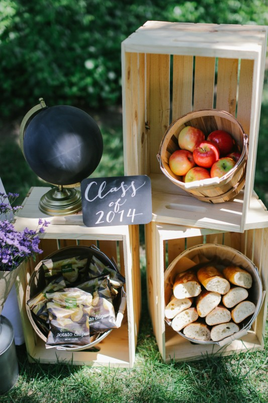 The World is Your Market Graduation Party, crates, fruit basket with apples, bread, chips, chalkboards