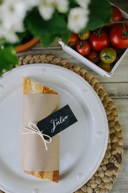 The World is Your Market Graduation Party, Panera catering, sandwich with chalkboard place setting