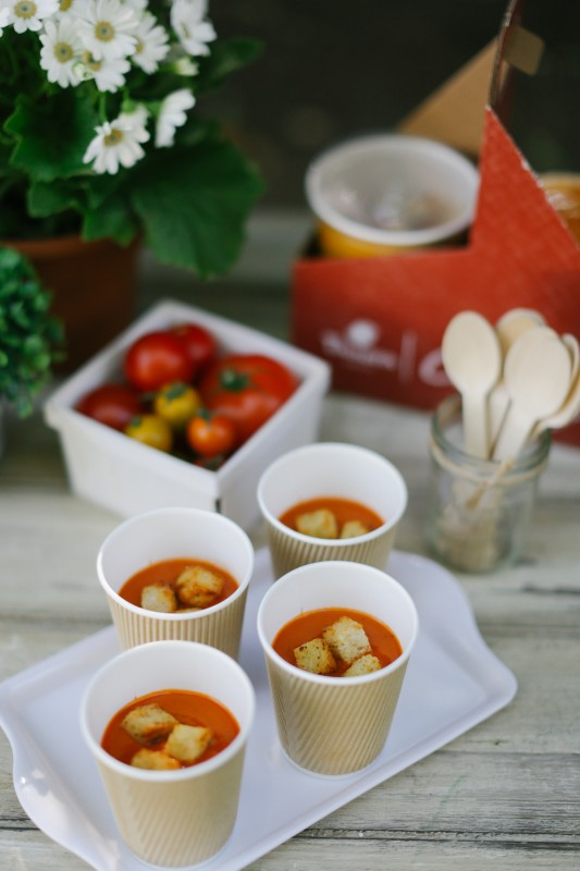 The World is Your Market Graduation Party, Panera Catering, soup, croutons, tomatoes