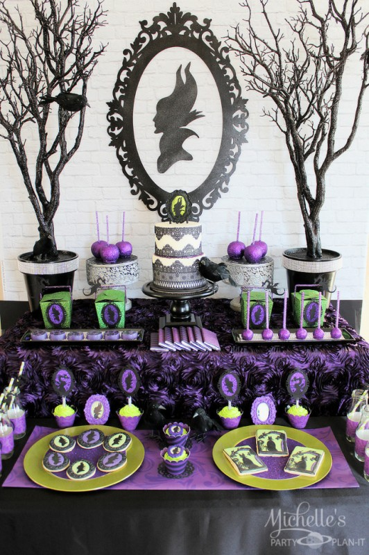 Maleficent party backdrop black glitter frame dessert table branches