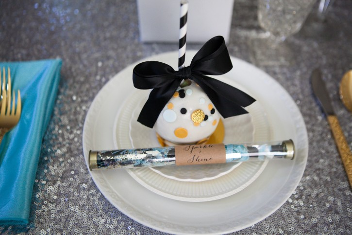confetti party, candy apple, confetti stick, sprinkles, gold, black and white
