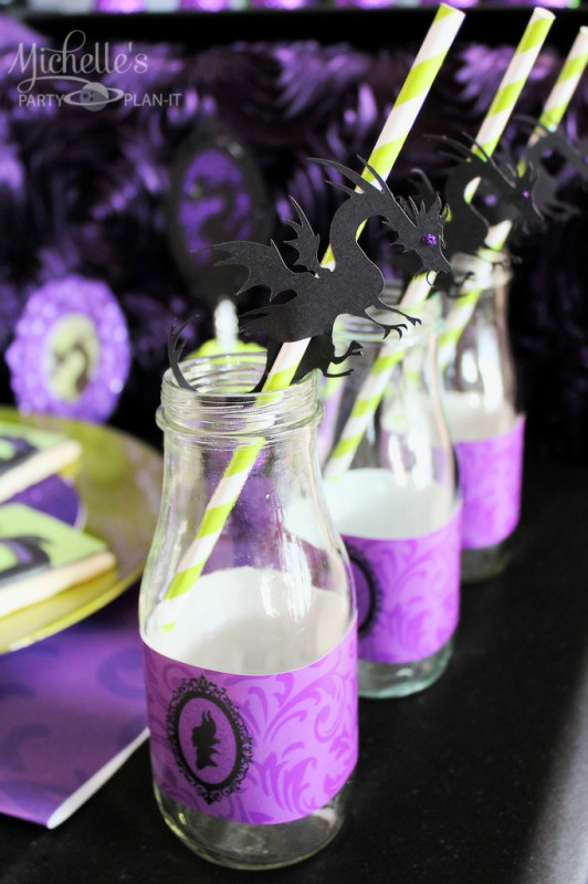 Maleficent party milk bottles labels dragon straws
