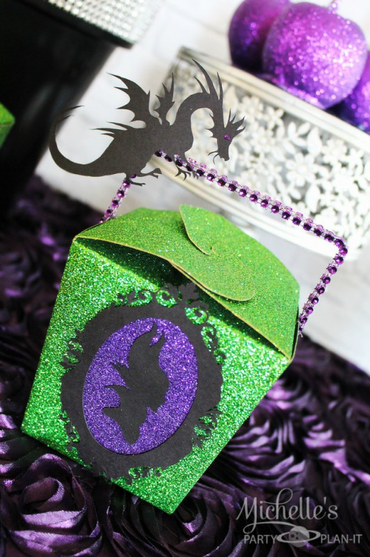 Maleficent party glittered party favor box framed silhouette dragon