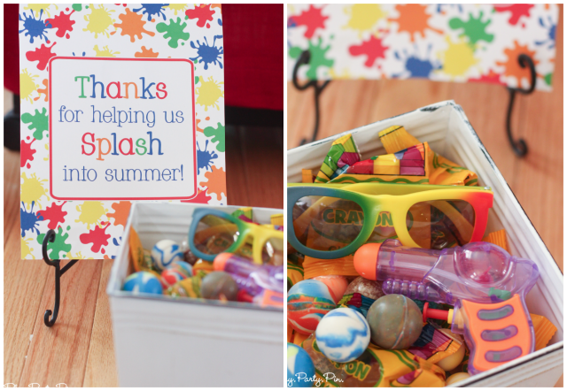 Splatter Paint and Splash Party (with Juicy Juice), Thanks for helping us Splash into Summer sign, party favor goodies