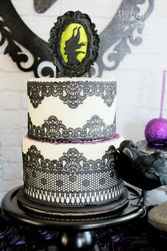 maleficent party black framed silhouette cake topper lace