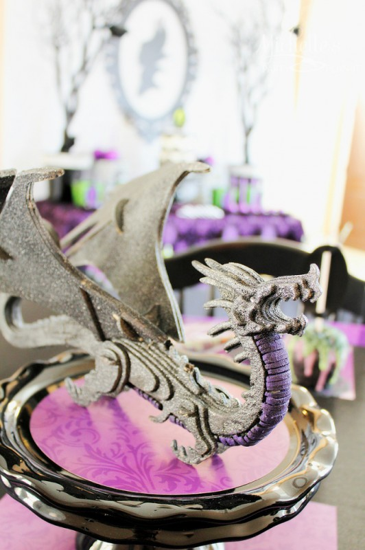 Maleficent party glittered dragon decor