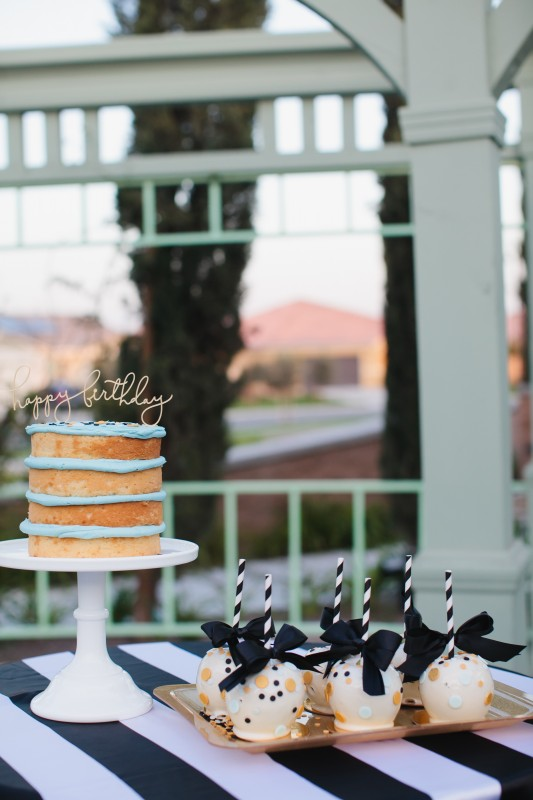 confetti party, naked cake, happy birthday, candy apples, gold, black and white