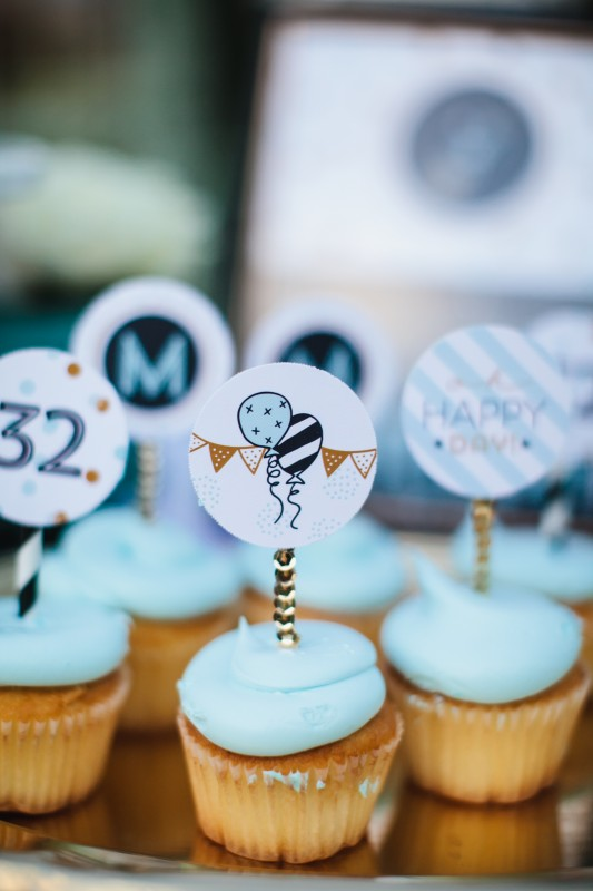 confetti party, black and white, gold, cupcake toppers