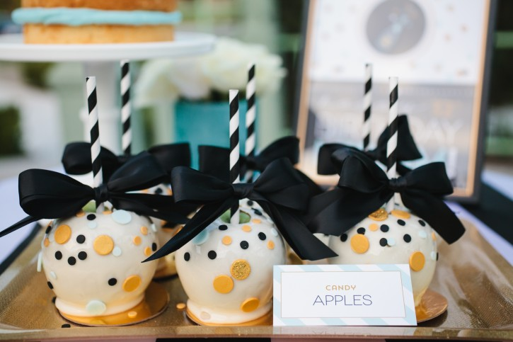 confetti party, candy apples, gold, black and white