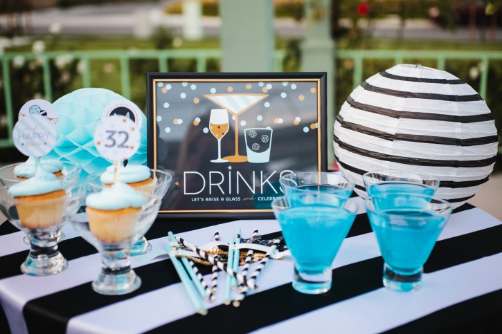 confetti party, drink station, cupcakes in martini glasses, drinks, black and white, gold