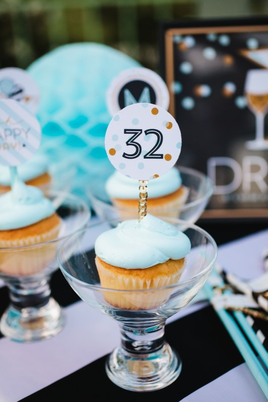 confetti party, black and white, gold, cupcakes, cupcake toppers